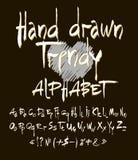 Alphabet tiré par la main Ensemble de vecteur d'alphabet calligraphique d'acrylique ou d'encre Fond noir Lettres de l'alphabet Photo stock