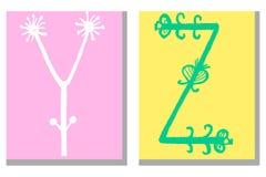 Alphabet tiré par la main mignon dans le style de fleur fait dans le vecteur Gribouillez les lettres Y, Z pour votre conception C illustration de vecteur