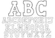 Alphabet tiré par la main ondulé Images stock