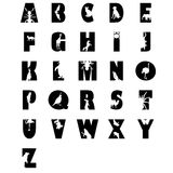 Alphabet from A to Z. Black and white vector set of letters with animals Royalty Free Stock Image