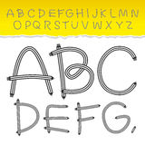 Alphabet from A to Z and used pattern brushes included. Set black letters on white background. Vector Royalty Free Stock Photo