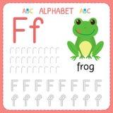 Alphabet tracing worksheet for preschool and kindergarten. Writing practice letter F. Exercises for kids royalty free illustration