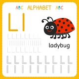Alphabet tracing worksheet for preschool and kindergarten. Writing practice letter L. Exercises for kids. Vector illustration stock illustration