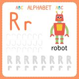 Alphabet tracing worksheet for preschool and kindergarten. Writing practice letter R. Exercises for kids. Vector illustration vector illustration