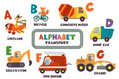 Alphabet with transport and animals A to G. Vector illustration, eps royalty free illustration
