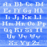 Alphabet tricoté de vecteur, lettres audacieuses blanches d'empattement Partie - lettres Photos stock