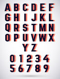 Alphabet triple font Royalty Free Stock Images