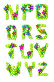 Alphabet tropisches Blumenn bis Z Lizenzfreies Stockfoto