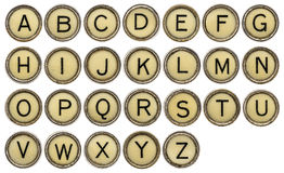 ALphabet in typewriter keys. Full in English alphabet  in old round typewriter keys isolated on white Stock Photography