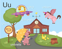 Alphabet.U. Letter ufo u-turn umbrella university unicorn Royalty Free Stock Photography