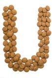 Alphabet U de noix de gingembre Photographie stock libre de droits