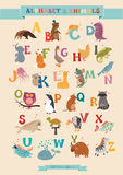 Alphabet-u. Tier-Vektor-Satz Stockbild