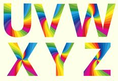 Alphabet U V W X Y Z. Stylish Rainbow Alphabet. Colorful your Education. Alphabet  U V W X Y Z Stock Photography