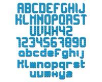 Alphabet-und Zahl-Vektor-Ikonen mit Schatten Lizenzfreies Stockbild
