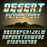 Alphabet und Zahlen der Wüsten-80s Stockbild