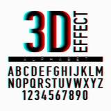 Alphabet und Zahlen des Effektes 3D Lizenzfreie Stockfotos