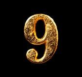 Alphabet und Zahlen im Goldblatt Lizenzfreie Stockfotos