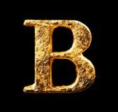 Alphabet und Zahlen im Goldblatt Stockbild