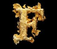 Alphabet und Zahlen im rauen Goldblatt Stockfotografie