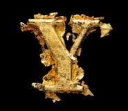 Alphabet und Zahlen im rauen Goldblatt Lizenzfreie Stockbilder
