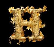 Alphabet und Zahlen im rauen Goldblatt Lizenzfreie Stockfotografie