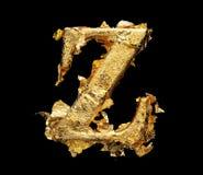Alphabet und Zahlen im rauen Goldblatt Lizenzfreies Stockfoto
