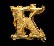 Alphabet und Zahlen im rauen Goldblatt Stockbild