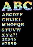 Alphabet - uppercase set in trendy rainbow doodle design, also includes numbers, question mark and exclamation point Stock Photos