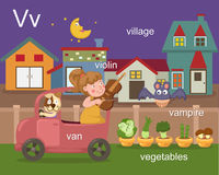 Alphabet.V. Letter van violin village vampire vegetables Royalty Free Stock Photography