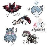 Alphabet V d'animaux - Z pour des enfants Photographie stock libre de droits