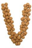 Alphabet V de noix de gingembre Image stock