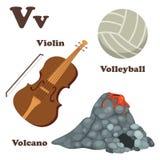 Alphabet V letter.Volcano,Volleyball,Violin Stock Photos