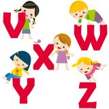 Alphabet V-Z. Cartoon letters with children in different positions (V-Z Stock Photo