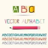 Alphabet. Vector Letters Set with Pencil. Alphabet. Vector ABC Letters Set with Pencil royalty free illustration
