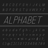 Alphabet Vector Font Design (Thin Italic) Stock Photos