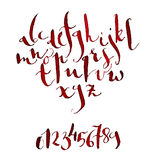 Alphabet. Vector Hand written watercolor modern calligraphic alphabet Royalty Free Stock Photo