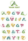 Alphabet Vector A to Z. Colorful alphabet. Set of 3d letters isolated on white Royalty Free Stock Image