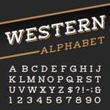 Alphabet-Vektorguß der Westart Retro- Lizenzfreies Stockbild