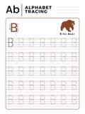 Alphabet-Verfolgungs-Buch des Buchstabe-B mit Beispiel und lustiger Bärn-Karikatur Vorschularbeitsblatt für das Üben der feinen B lizenzfreie abbildung