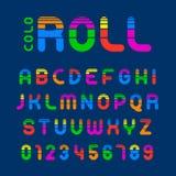 Alphabet vibrant et nombres de petit pain avec des rayures illustration stock