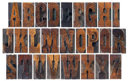 Antique wood type alphabet. Alphabet in vintage letterpress wood type blocks, French Clarendon font popular in western movies and memorabilia, a collage of 26 Royalty Free Stock Photos