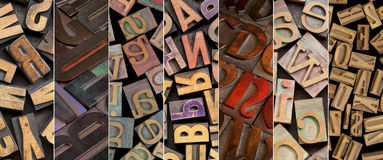 Alphabet in vintage letterpress wood type. Printing blocks - a collage of different fonts and styles Royalty Free Stock Photography