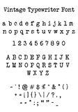 Vintage typewriter font. Letters, numbers, characters, illustration. Also available as an .eps stock illustration