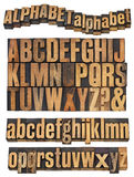Alphabet in vintage wood type. Full English alphabet, uppercase and lowercase and word abstract -,  - vintage wood letterpress printing blocks isolated on white Stock Photography
