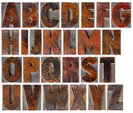 Alphabet in vintage wood type. A complete English uppercase alphabet - a collage of 26 isolated antique wood letterpress printing blocks with ink patina Royalty Free Stock Photography