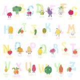 Alphabet vivant de vecteur de fruits et légumes de bande dessinée mignonne Images stock