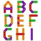 Alphabet vom Erbauer von A zu I lizenzfreie abbildung