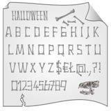 Alphabet von Knochen Halloween-Vektor Stockbild