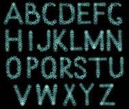 Alphabet von Schneeflocken, von Winterweihnachtsguß für Postkarten und von Grüßen Lizenzfreie Stockfotos
