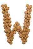 Alphabet W de noix de gingembre Images libres de droits